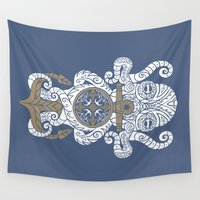 maori Wall Tapestries featuring Octopus anchor and compass in tribal style by pakowacz