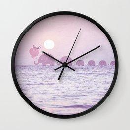 Elephants - a dream walk Wall Clock