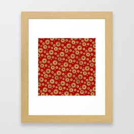 Chinese Coin Pattern Gold on Red Framed Art Print