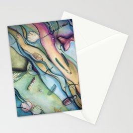 Watercolor Mermaid Accessories and Tails Stationery Cards