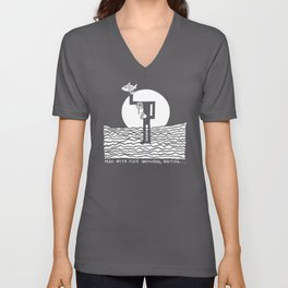 Man with Fish Watching, Waiting... Unisex V-Neck