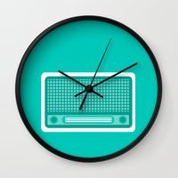 radio Wall Clocks featuring radio by brittcorry