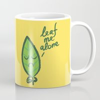 introvert Mugs featuring The introvert leaf by Picomodi