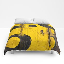 black numbers on yellow background Comforters