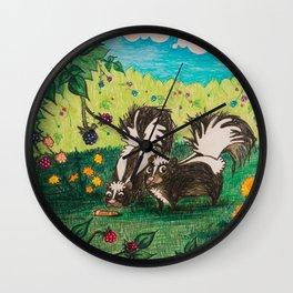 Skunk Picnic Wall Clock