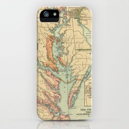 Vintage Virginia and Maryland Colonies Map (1905) iPhone Case