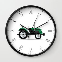 Green Isolated Tractor Wall Clock