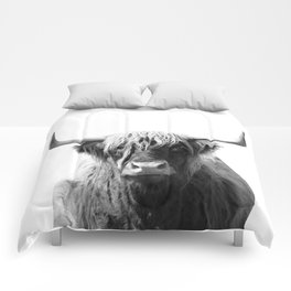 Highland cow | Black and White Photo Comforters