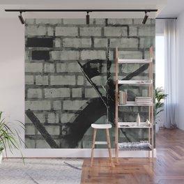 Graffiti Street Art from Original Painting by Jodi Tomer. Abstract Black and White Bricks Wall Mural