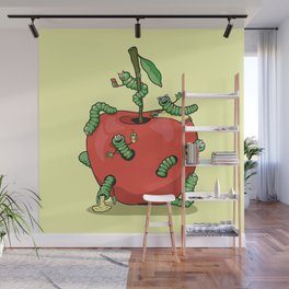 Funny worms in the apple  Wall Mural