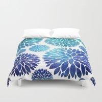 Ocean Flowers Watercolor Duvet Cover