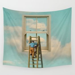 Window cleaner in the sky 02 Wall Tapestry