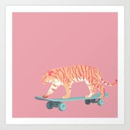 Skateboarding Pink Tiger Art Print