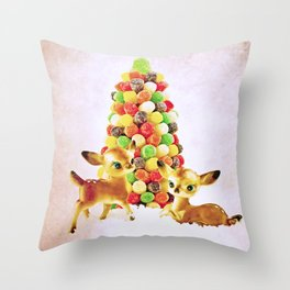 Vintage Fawns by Gumdrop Tree Throw Pillow