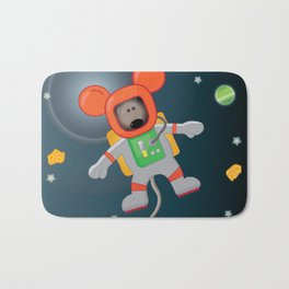 Space Mouse floating in space Bath Mat
