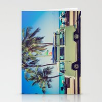vw bus Stationery Cards featuring VW Bus Beach Vacation by Limitless Design
