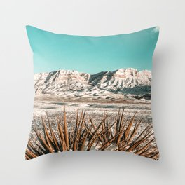 Vintage Mojave Mountains // Snowcapped Desert Landscape Cactus Plant Perspective Photograph Throw Pillow