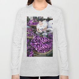 Eggplant Vendor, Myanmar Long Sleeve T-shirt