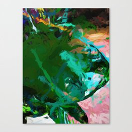 Green Leaf Killer Whale Turquoise Blue Canvas Print