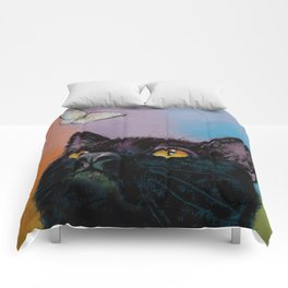 Black Cat Butterfly Comforters