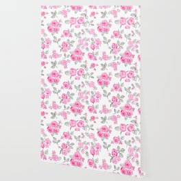 Pink watercolor roses pattern Wallpaper