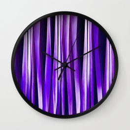 Royal Purple, Lilac and Silver Stripy Pattern Wall Clock