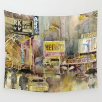 broadway Wall Tapestries featuring Broadway,  New York by Dorrie Rifkin Watercolors