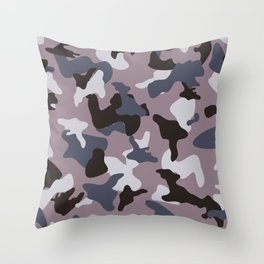 Gray army camo camouflage pattern Throw Pillow