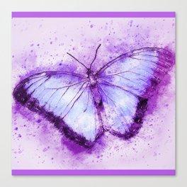 Purple watercolor butterfly Canvas Print