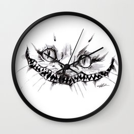 Cheshire Smile Inktober Drawing Wall Clock