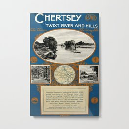 Chertsey Vintage Travel Poster Metal Print