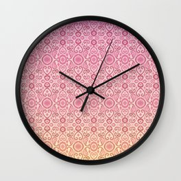 Ikat Sunset Pink Yellow Fade Pattern Wall Clock