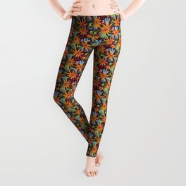 Golden daisy floral jungle pattern Leggings