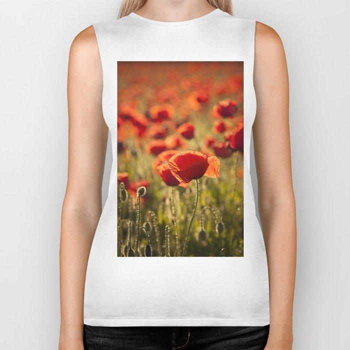 Poppies in LOVE - Poppy Flower Flowers Biker Tank