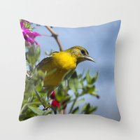 baltimore Throw Pillows featuring Baltimore Oriole by Christina Rollo