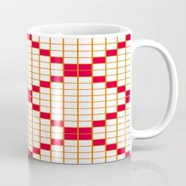 White and Magenta Grid Crosstile Coffee Mug
