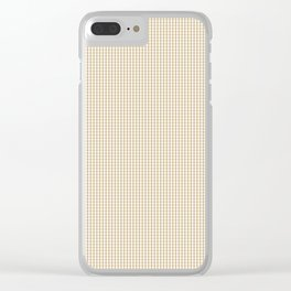 Christmas Gold Mini Gingham Check Plaid Clear iPhone Case