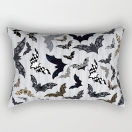 Artistic Bats on Gray Striped Background (multi-colors) Rectangular Pillow