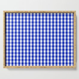 Cobalt Blue and White Gingham Check Plaid Squared Pattern Serving Tray