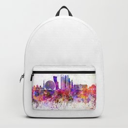 Abu Dhabi V2 skyline in watercolor background Backpack