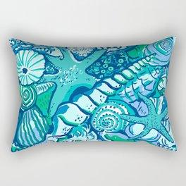 She Sells Sea Shells Blue Rectangular Pillow