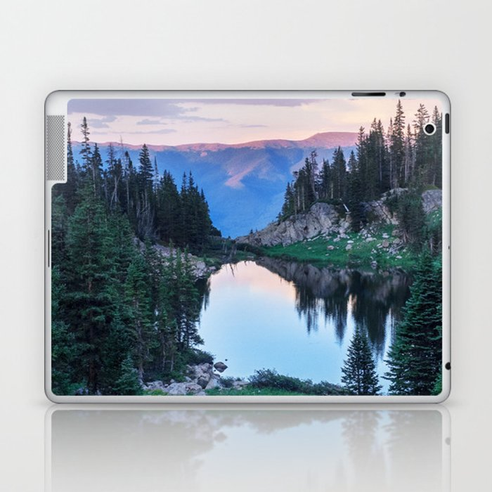Hikers Bliss Perfect Scenic Nature View \ Mountain Lake Sunset Beautiful Backpacking Landscape Photo Laptop & iPad Skin