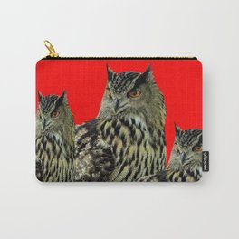FAMILY OF OWLS IN TREE RED ART DESIGN ART Carry-All Pouch
