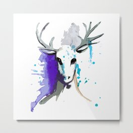 Christmas Watercolor Reindeer Metal Print
