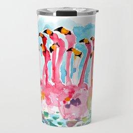 Welcome to Miami - Flamingos Illustration Travel Mug