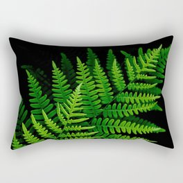 Fern Fronds on Black Rectangular Pillow