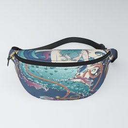 Blue Mermaid with anchor art nouveau design Fanny Pack