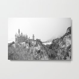 Black and White Neuschwanstein Castle in Winter Metal Print