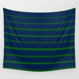Slate Blue and Emerald Green Stripes Wall Tapestry