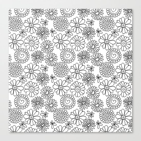 Doodle floral pattern Canvas Print